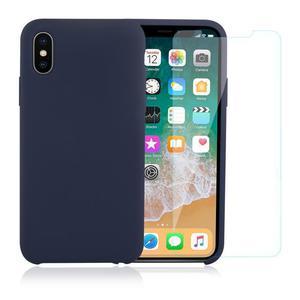 Pack Coque iPhone X / iPhone XS en Silicone Bleu Nuit + Verre Trempé