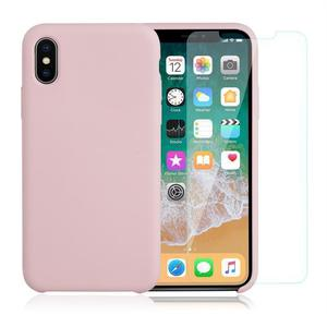 Pack Coque iPhone X / iPhone XS en Silicone Rose Pâle + Verre Trempé