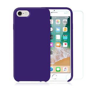 Pack iPhone 7 / iPhone 8 Silikon hülle Violett + Gehärtetes Glas