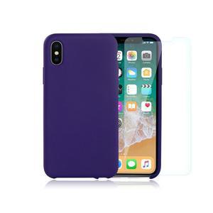 Pack Coque iPhone X / iPhone XS en Silicone Violet + Verre Trempé