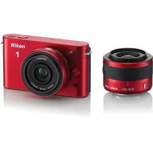 Híbrido Nikon 1 J1 - Rojo + lente Nikkor 1 10-30 mm 1: 3.5-5.6 + 10 mm 1: 2.8