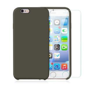 Pack iPhone 6 Plus / iPhone 6S Plus Silikon Hülle Olivgrün + gehärtetem Glas