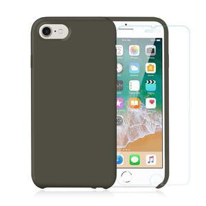 Pack iPhone 7 / iPhone 8 Silikon Hülle Olivgrün  + ausgeglichenes Glas
