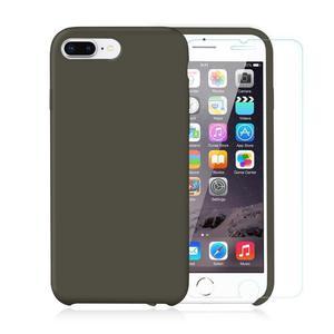 Pack iPhone 7 Plus / 8 Plus Silikon Hülle Olivgrün + gehärtetem Glas