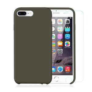 Pack iPhone 7 / 8 Plus Silikon Hülle Olivgrün + ausgeglichenes Glas