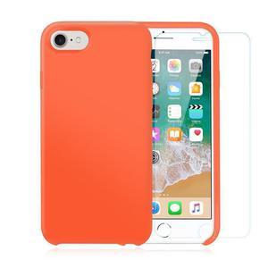 Pack iPhone 7 / iPhone 8 Silikon Hülle Nektarine + gehärtetes Glas