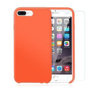 Pack iPhone 7 / iPhone 8 Plus Silikon Hülle Nektarine + gehärtetes Glas