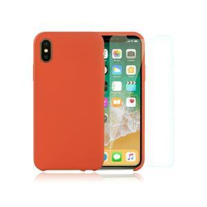 Pack iPhone X / iPhone XS Silikon Hülle Nektarine + gehärtetes Glas