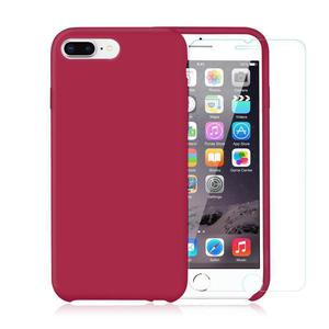 Pack iPhone 7 Plus / iPhone 8 Plus Silikon Hülle Kirsche + gehärtetes Glas