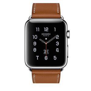 Apple Watch (Series 3) Septiembre 2017 42 mm - Acero inoxidable Plata - Correa Hermès correa sencilla Marrón