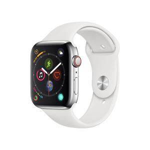Apple Watch (Series 4) Syyskuu 2018 40 mm - Ruostumaton teräs Hopea - Armband Sport loop Wit