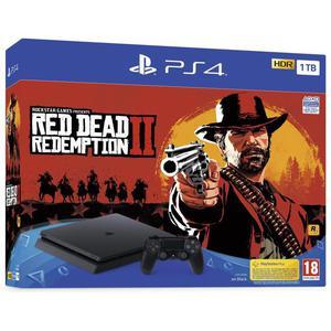 Konsoli Sony PlayStation 4 Slim 1TB + 1 Ohjain + Red Dead Redemption II - Musta