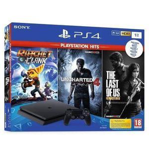 Pack PS4 500 Go Noire + 3 Jeux PlayStation Hits - Noir
