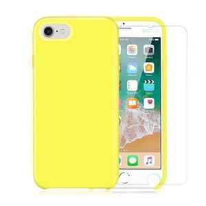 Pack Coque iPhone 7 / iPhone 8 en Silicone Jaune + Verre Trempé