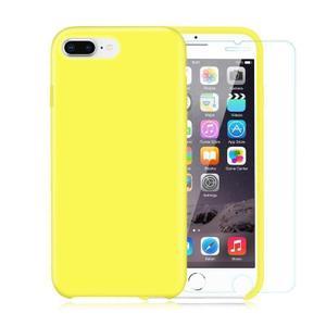 Pack iPhone 7 Plus / iPhone 8 Plus Silikon Hülle Gelb + gehärtetes glas