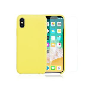Pack Coque iPhone X / iPhone XS en Silicone Jaune + Verre Trempé