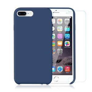 Pack iPhone 7 / iPhone 8 Plus Silikon Hülle Kobaltblau + gehärtetes Glas