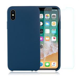 Pack Coque iPhone X / iPhone XS en Silicone Bleu Cobalt + Verre Trempé