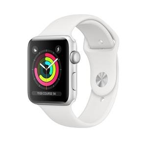 Apple Watch (Series 3) 38 mm - Aluminium Zilver - Armband Sport armband Wit