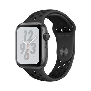 Apple Watch (Series 4) September 2018 44 mm - Aluminium Spacegrijs - Armband Nike sport armband Zwart