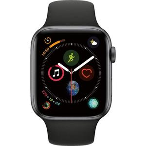 Apple Watch (Series 4) September 2018 44 mm - Roestvrij staal Spacegrijs - Armband Sportband Zwart