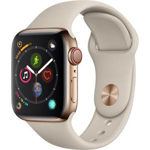 Apple Watch (Series 4) September 2018 40 mm - Roestvrij staal Goud - Armband Sport armband Roze (Pink Sand)