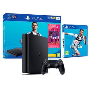 Konsole Sony PlayStation 4 Slim 1TB + 1 Joystick + FIFA 19 - Schwarz