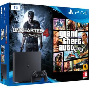 Konsoli Sony Playstation 4 Slim 1TB +1 Ohjain + Uncharted 4 : A Thief's End + Grand Theft Auto V - Musta
