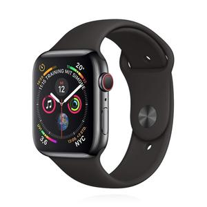 Apple Watch (Series 4) Septembre 2018 44 mm - Acier inoxydable Gris sidéral -  Bracelet Sport Noir