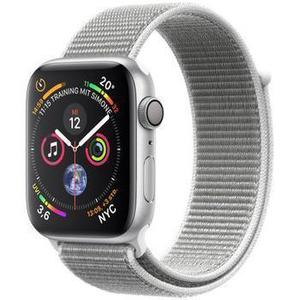 Apple Watch (Series 4) September 2018 40 mm - Aluminium Silber - Armband Lederarmband mit Schlaufe Silber