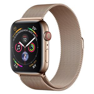 Apple Watch (Serie 4) Septembre 2018 44 mm - Acier inoxydable Or - Bracelet Milanais Or