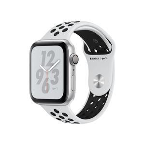 Apple Watch (Series 4) Syyskuu 2018 44 mm - Alumiini Hopea - Armband Sport loop Musta