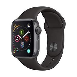 Apple Watch (Series 4) 2018 40 mm - Aluminium Space Grau - Armband Sportarmband Schwarz