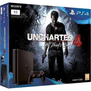 Konsole Sony PlayStation 4 Slim 1TB + 1 Joystick + Spiel Uncharted 4: A Thief'S End - Schwarz