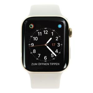 Apple Watch (Series 4) Septembre 2018 44 mm - Acier inoxydable Or - Bracelet Sport Gris