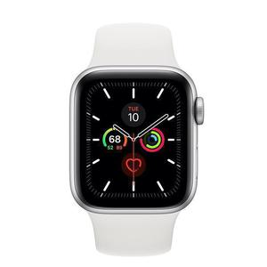 Apple Watch (Series 5) 44 mm - Alumiini Hopea - Armband Sport loop Wit