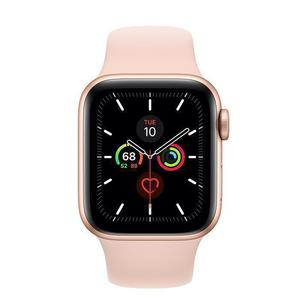 Apple Watch (Series 5) September 2019 44 mm - Aluminium Goud - Armband Sport armband Roze