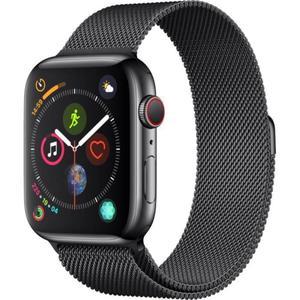 Apple Watch (Series 4) Septembre 2018 44 mm - Acier inoxydable Gris sidéral -  Bracelet Milanais Noir