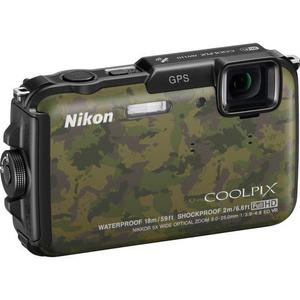 Kompaktkamera Nikon CoolPix AW110 Braun/Grün + Objektiv Nikon Nikkor Wide Optical Zoom 28-140 mm f/3.9-4.8