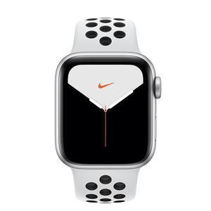 Apple Watch (Series 4) Septembre 2018 44 mm - Aluminium Argent - Bracelet Sport Nike Blanc/Noir