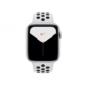 Apple Watch (Series 5) September 2019 44 mm - Aluminium Zilver - Armband Nike sport armband Wit/Zwart
