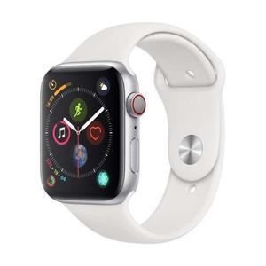 Apple Watch (Series 4) Septembre 2018 44 mm - Acier inoxydable Argent - Bracelet Sport Blanc