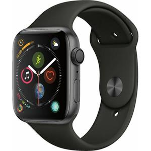 Apple Watch (Series 4) September 2018 44 mm - Aluminium Space Grau - Armband Sportarmband Schwarz