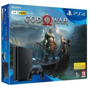 Konsole Sony PlayStation 4 Slim 1TB + Joystick + Spiel God of War - Schwarz