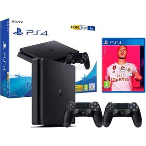 Console Sony PlayStation 4 Slim 1To - Noir + 2 Manettes Dualshock 4 + FIFA 20