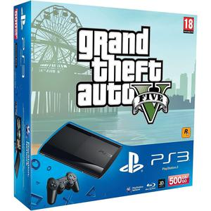Consola Sony PlayStation 3 Ultra Slim 500 GB + 1 controlador + juego Grand Theft Auto V - Negro