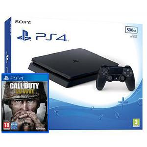 Sony PlayStation 4 Slim 500GB + Ohjain + Call Of Duty WW II - Musta