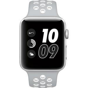 Apple Watch (Series 2) Septembre 2016 38 mm - Aluminium Argent - Bracelet Sport Nike Gris et Blanc