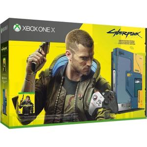 Console Microsoft Xbox One X 1TB CyberPunk 2077 Limited Edition + Joystick - Blauw/Geel/Grijs