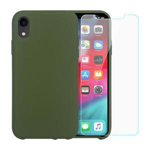 Pack Coque iPhone XR en Silicone Vert Olive + Verres Trempés